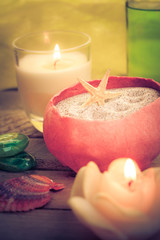 Oil massage aromatic candles stones Zen