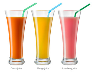 Glass of juice. Collection isolated on white. With clipping path