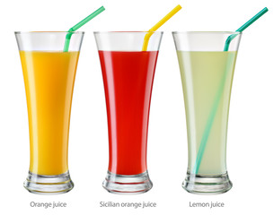 Glasses of citrus juices isolated on white. With clipping path