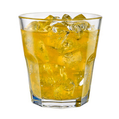 Glass of fanta on white background. With clipping path