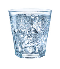 Glass of mineral carbonated water with ice. With clipping path