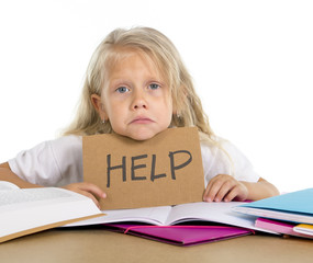 sweet schoolgirl holding help sign in stress with homework