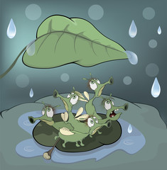 A choir of singing beetles in the rain cartoon