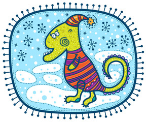 Green dragon in a hat and a sweater is on the snow