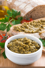 pesto sauce and ciabatta, vertical