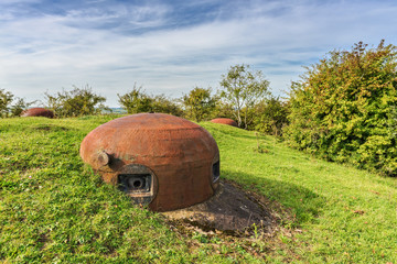 Gun turrets of Welschhof bunker on the Maginot Line in Gros-Rede