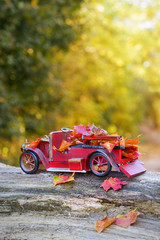 Vintage Car With Autumn Leaves