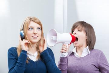teen shouting in megaphone