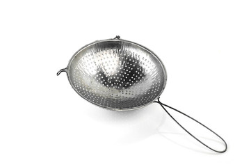 Metal sieve isolated on white background