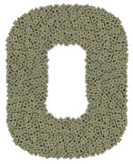 letter O made of old and dirty microprocessors, isolated on