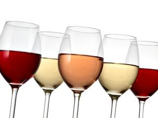 Five wine glasses, close up