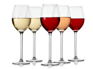 Five glasses with red, white and rose wine