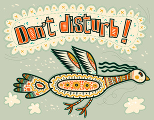 Very serious flying decorative bird. Don't disturb!