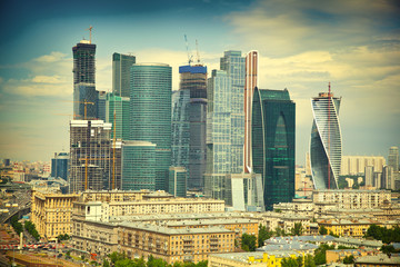 Moscow skyline and business center Moscow-City