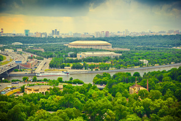 Moscow River, Luzhniki sports complex. Photo toned in yellow