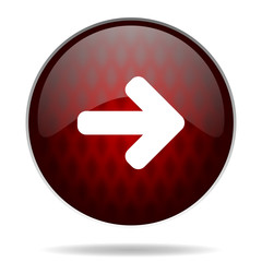 right arrow red glossy web icon on white background.