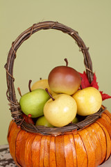 Pumpkins and Apples in Baskets on Wood Bench