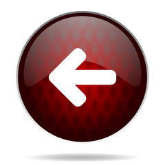 left arrow red glossy web icon on white background.