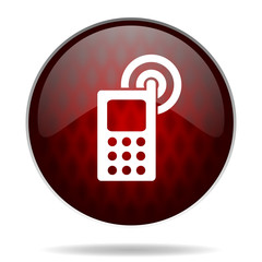 phone red glossy web icon on white background.