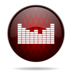sound red glossy web icon on white background.