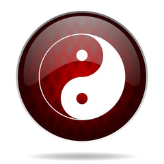 ying yang red glossy web icon on white background.