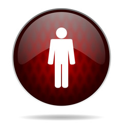 male red glossy web icon on white background.
