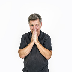 Man having problems, Isolated over white background