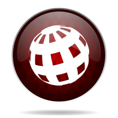 earth red glossy web icon on white background.