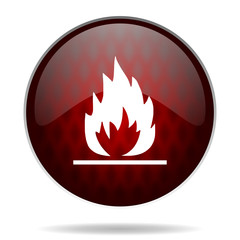 flame red glossy web icon on white background.