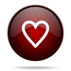 heart red glossy web icon on white background.