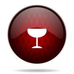 alcohol  red glossy web icon on white background.