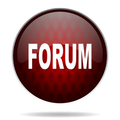 forum red glossy web icon on white background.