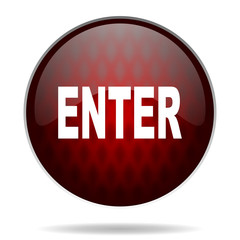 enter red glossy web icon on white background.