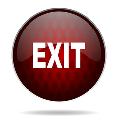exit red glossy web icon on white background.