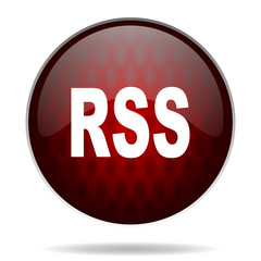 rss red glossy web icon on white background.