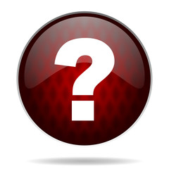 question mark red glossy web icon on white background.