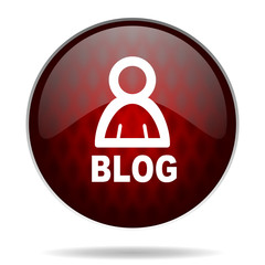 blog red glossy web icon on white background.