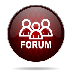 .forum red glossy web icon on white background.