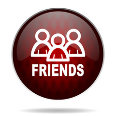 friends red glossy web icon on white background.