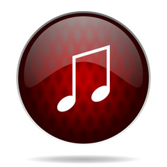 music red glossy web icon on white background.
