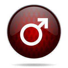 male gender red glossy web icon on white background.