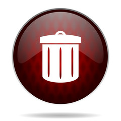 recycle red glossy web icon on white background.