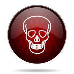 skull red glossy web icon on white background.