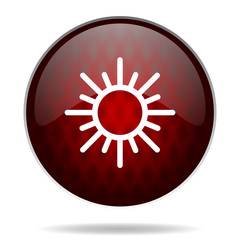 sun red glossy web icon on white background.