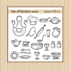 Vector set with images of cartoon kitchen ware