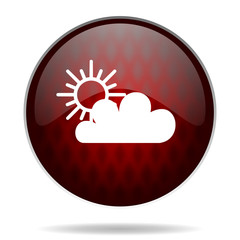 cloud red glossy web icon on white background.