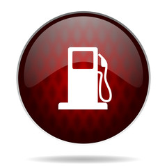 petrol red glossy web icon on white background.