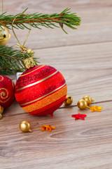 red and orange  christmas  ball