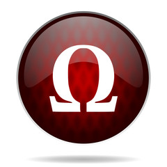 omega red glossy web icon on white background.