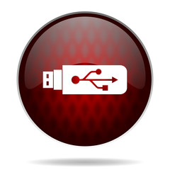 usb red glossy web icon on white background.